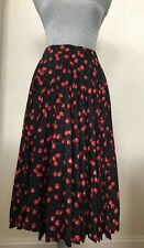New J.Crew store Pleated Midi Skirt size 6 Cherry Print Red F5482