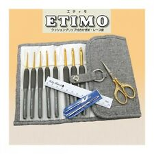 TULIP ETIMO TEG-001 Gold Scissors Crochet Hooks 8 Size Gift Case Set New F/S
