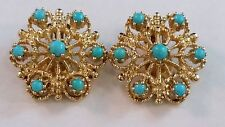 BEAUTIFUL 14k Yellow Gold & Turquoise Clip-On Non Pierced Starburst Earrings