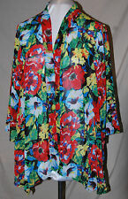 SLINKY BRAND SIMPLY GORGEOUS CHIFFON JACKET & WHITE TANK SET POLY FLOWER PRINT