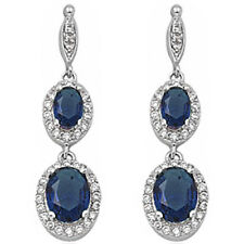 PURE ELEGANCE! DANGLE STYLE BLUE SAPPHIRE .925 Sterling Silver Earring