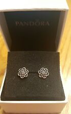 Authentic Pandora Sterling Silver Floral Daisy Lace Stud Earrings 290692