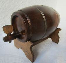 Antique  vintage primitive WOODEN FLASK CANTEEN KEG BARREL + stand