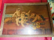 RARE ANTIQUE Victorian 1890s KITTENS cat PANSIES FRAMED LITHO PRINT old  *cute*!