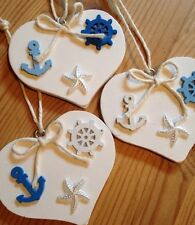 Nautical Hanging Decorations X 3 Shabby Chic Wood Heart Anchor Wheel Star Fish