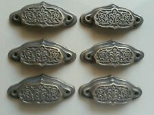 "6 Ornate Apothecary cabinet drawer bin cup pull Handles Vntg. Style 3 1/2""  #A4"