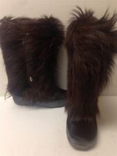 OSCAR Sport Women's sz 7 EUR 37 Brown Animal Fur Leather Mid Calf Boots Italy