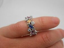 Gorgeous EFFY Solid 14K White Gold Multi Sapphire & Diamond Band Ring Size 4