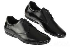 NEW PRADA BLACK  LEATHER LOGO LACE-UP CASUAL DRIVER OXFORD SHOES 8/US 9
