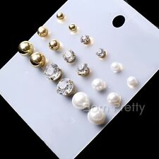 9Pairs/set Perle Strass Earring Multisize Ball Shining Ear Stud Boucle d'oreille