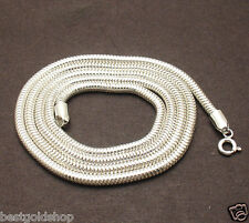 "26"" 3mm  Round Snake Chain Necklace Real Solid Sterling Silver 925"
