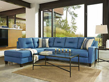DAKOTA - Blue Fabric Living Room Sofa Queen Sleeper Couch Chaise Sectional Set