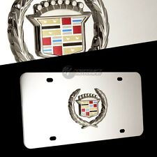 CADILLAC Wreath Logo Front Mirror Stainless Steel License Plate Frame AUTHENTIC