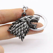 HBO Game of Thrones House Stark Head 3D Metal Keyring Keychain Silver Color