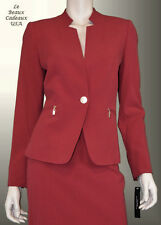 TAHARI Women SIZE 14 OFF-RED 2PC Two-Piece Skirt Suit ZIPPER POCKET NWT$280