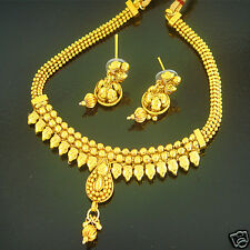 Indian Bollywood Jewelry Gold Traditional Ethnic Bridal Fashion Necklace Set GS6