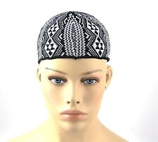 YVES SAINT LAURENT YSL 100% COTTON BEANIE HAT CAP BLACK WHITE ITALY SIZE M NEW