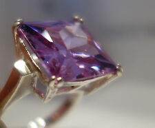 20MM LAVENDER CZ  LARGE FLASHY 925 STERLING SILVER COCKTAIL RING