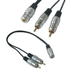 "Black 3.5mm 1/8"" Female Jack to 2-RCA Male Plug AV Audio Stereo Y Adapter Cable"