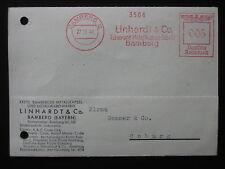 DR Deut. Reich Heimatbeleg Postkarte Linhardt & Co. BAMBERG 27.11.41 Freistempel