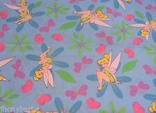TINKERBELL FAIRY GARDEN FLOWERS BUTTERFLIES DISNEY on COTTON FABRIC By The YARD