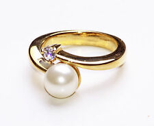 SUNNY GOLD METAL TWIST SETTING RING w PEARLY BEAD & TASTEFUL DIAMANTE (ZX5/47)