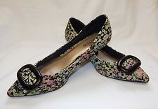 M&S Ltd Collection Ladies Multi Floral 60s Retro Kitten Heel Shoes Size 5.5/38.5