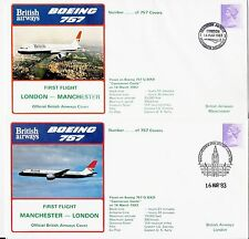 2 Official Covers of First British Airways B757 Services London-Manchester vv.