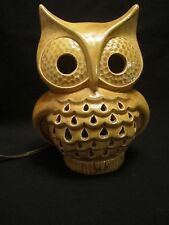 Ceramic Light Up Cut Out Owl Lamp electric