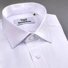 Super Sale Mens White Wrinkle Free Formal Business Dress Shirt Size Small 38