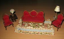 6 Piece Living Room Parlor Dollhouse Miniature Red Velvet & Wood Settee Chairs