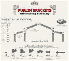 American Barn Shed 8inch C Section Purlin Bracket Set-Garage-Farm-Steel Plate