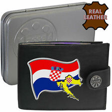 CROATIA Mens Leather Wallet  CROATIAN Flag map and Emblem Mans gift Hrvatska