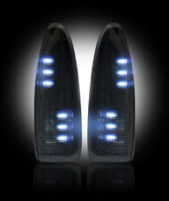2003-07 Ford Super Duty F250 F350 Smoked Side Mirror Lenses w/ White LED Lights