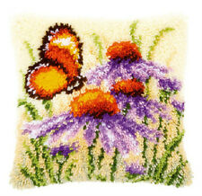 VERVACO LATCH HOOK Pillow Cushion Kit ECHINACEA AND BUTTERFLY