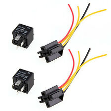 2pcs 12V SPST Relay + Wire Socket Car Automotive Alarm 40A High quality