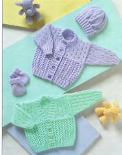 Baby Double Knitting Pattern Cardigans hat & mittens 12-22 inches]]