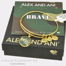 Authentic Alex and Ani Brave Yellow Gold Expandable Charm Bangle