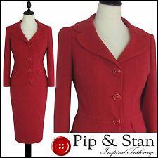 LK BENNETT UK10 US6 RED 50S VINTAGE INSPIRED PENCIL SKIRT SUIT WOMEN LADIES SIZE