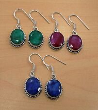 WHOLESALE 3PAIR LOT 925 SOLID STERLING SILVER RUBY,EMERALD,SAPPHIRE EARRING