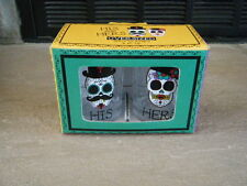 RARE SUGAR SKULLS DAY OF THE DEAD OVER SIZED SHOT GLASS GLASSES SET HIS & HERS