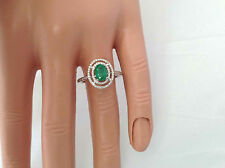 0.97Ct Genuine Natural Emerald And Diamond Ring Solid 14K White Gold Double Halo