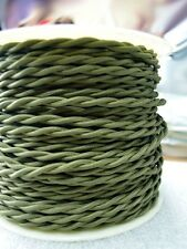 Olive Green - Cloth Covered Twisted Wire 25ft Roll - Lamp Cord - Pendant Cord