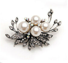 Vintage Antique Silver and Cream Pearls Corsage Bridal Wedding Brooch Pin BR177