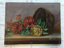 Ölgemälde alt Blumen Stillleben Blumenstrauß Korb Astern Tisch signiert 1935