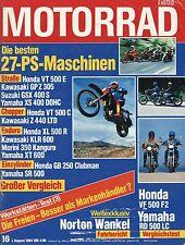 Motorrad 16 1984 Test Yamaha RD500LC Honda GB250 Morini Kanguro Münch Mammut
