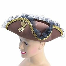 Ladies Tricorn Brown Lace Pirate Bucanneer Captain Fancy Dress Costume Hat BH608