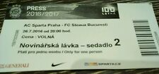 PRESS TICKET UEFA CL 2016/17 Sparta Prag - Steaua Bukarest