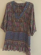 Anthropologie Tolani Women's Size Small 100% Silk Ginger Tunic Blue Pink Dress