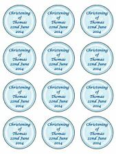"12 x Boys Christening/ Holy Communion 2"" PRE-CUT PREMIUM RICE PAPER Cake Toppers"
